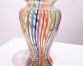 Rainbow Striped Vase