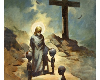 Mike Hoffman Religious Christian Mythic ufo Art Painting Print CHRIST BLESSES GRAYS