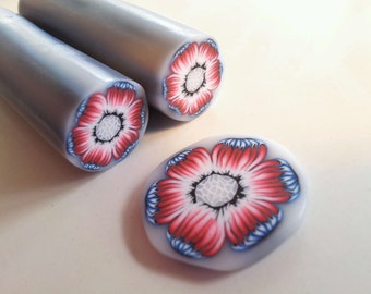 Polymer Clay Cane, Blue, Red and White Flower, Raw, Unbaked Clay