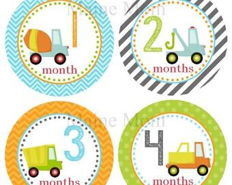FREE GIFT, Baby Boy Month Stickers, Monthly  Boy Stickers, Bodysuit Stickers, Baby Boy Photo Prop, Trucks Nursery Decor