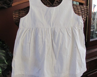 Dress Antique White Ivory Embroidered Cotton Baby Gown Dress