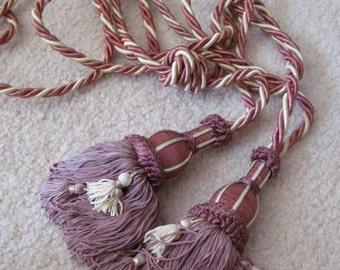 Set of 2 Vintage Large Long Pink Drapery Tassel Rope Tie Back