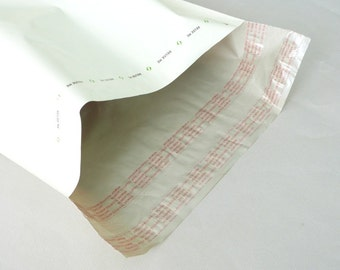 """White Biodegradable Poly Mailers Shipping Envelopes -- 12"""" x 15.5""""-- 12 per set"""