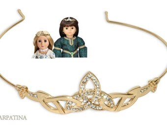"Dolls Celtic Gold Tiara fits 18"" American Girl and slim 18"" Carpatina dolls"
