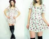Floral VELVET Mini Dress 90's Vintage Ribbon Bow Grunge Dress
