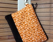 Wristlet Clutch Orange Arrow Print with Leather accents