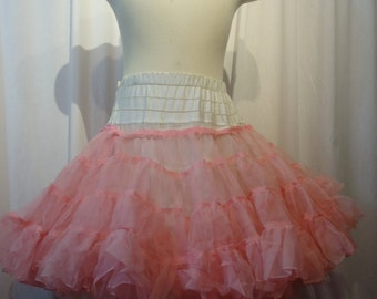 White Full Petticoat Crinoline with Pink Add On Adjustable waist 30 in to 46 inches