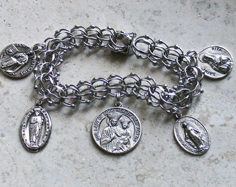 Health, Hope, Faith & Miracles ~ Vintage ELCO Sterling Silver Catholic Medals Bracelet