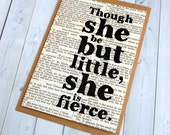 SALE Friendship Card - Though She Be But Little She Is Fierce - Card For Friend - New Baby Girl Card For Her - Shakespeare Quote (105)