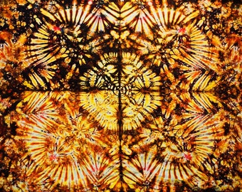 "58""x40""  Tie Dye Tapestry Made in USA Fire red orange yellow brown wallhanging by Emeraldsprings"