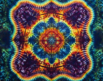 """77""""x58"""" Tie Dye Tapestry Made in USA Rainbow color by Emeraldsprings red blue green orange yellow purple"""