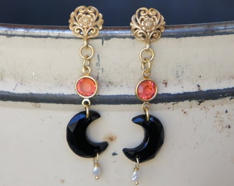 Antique Assemblage Earrings with 1920s French Jet Moons, Tangerine Swarovski and Gold