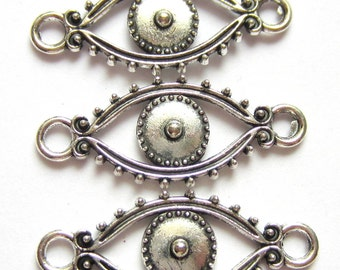 18 Evil eye charms antique silver  metal jewelry connectors bracelet links boho chic steampunk supply 30mm x 12mm 3161(BB5),
