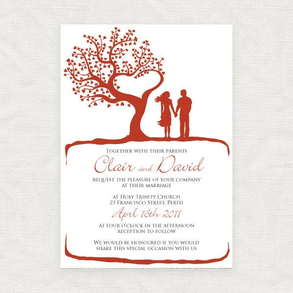 printable romantic wedding invitation -tree of love couple illustration heart engagement invite silhouette fall autumn spring summer outdoor