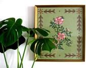 Vintage Cross-Stitch Needlepoint Embroidery Sampler  - Tudor Rose - Pink Rose - Green Background