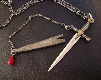 Sword Necklace, Medieval SWORD And SCABBARD, Unique,  Wonderful Detailing, Blood Droplet Dangle, USA Shipping, Not a Toy, Sharp