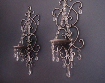 PAIR 2 Silver Spendor Chic Scroll Candle Wall Sconces in Set of 2 MADE To ORDER