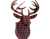Flannel Print Buck Jr - Medium Cardboard Deer Head  - Lumberjack Red