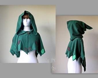 Greenleaf Fleece Hooded Caplet, Elven Fairy Forest Short Shawl or Cape, Festival Goddess Clothing Accessory