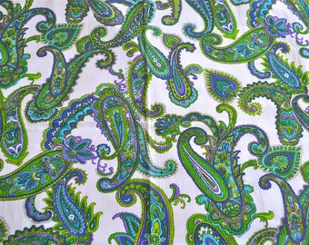Vintage Fabric - Purple Blue and Green Paisley on White - 44 x 52