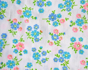 Vintage Fabric - Petite Flowers in Turquoise Hot Pink and Lavender - 44 x 44