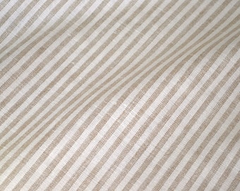 Vintage Fabric - Taupe and White Stripe Upholstery - By the Yard - Cotton Linen Blend