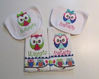Girls,Baby Girls, Girly Owl Applique Bib and Burpcloth Set, Onesies, Shirts, Owl Fabric, Monogram