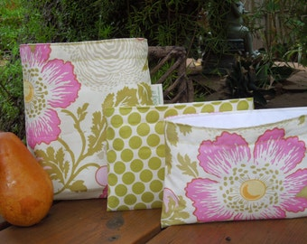 Reusable sandwich and/or snack bag - Fabric sandwich bag - Reuse snack bag - Reusable bags set - Ecofriendly reusable bags - Rose