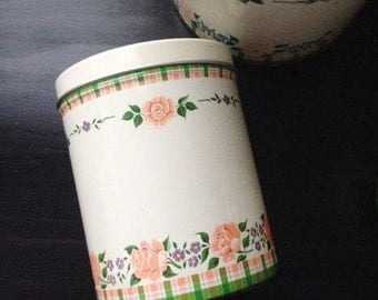 floral white rustic mid century kitchen storage tin set vintage