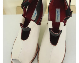 Paloma in white with black strap, 3 inches heels peep-toe, super soft and comfortable with arch support