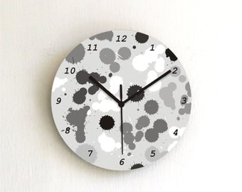 Black White Paint Spots Modern Wall clock