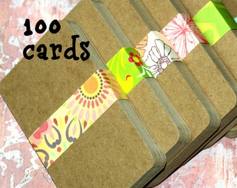 """Chipboard Cards (100) ... 3"""" x 5"""" Lightweight .022"""" Thick Kraft Brown Recycled Recipe Cards Invitations Craft Supplies DIY Art Supplies"""