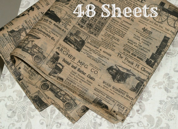Kraft Newsprint Tissue Wrap 48 Sheets Vintage Look Gift