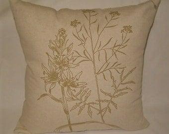 Long neck roll pillow Linen bolster pillow orange and white