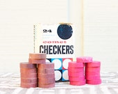 Vintage Wood Comet Checkers with Box by Halsam