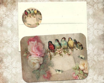 Note Cards, Birds & Roses, Flat Note Cards, Birds, Roses, Note Card Set