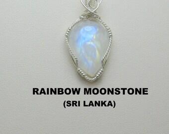 Moonstone Designer Cabochon Argentium Silver Wire Wrapped Pendant.