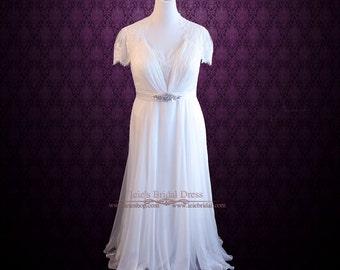 Chiffon Lace Beach Wedding Dress | Whimsy Plus Size Wedding Dress | Destination Wedding Dress | Elopement Wedding Dress