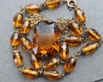 Antique Citrine Glass Necklace / Art Nouveau Jeweled Necklace / Gatsby Wedding 1920s