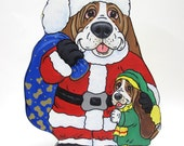 Basset Hound Christmas, Holiday, Santa Paws and Virginia Table Top Art