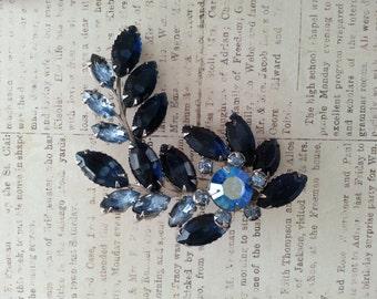 Vintage Juliana Style Blue Rhinestone Brooch