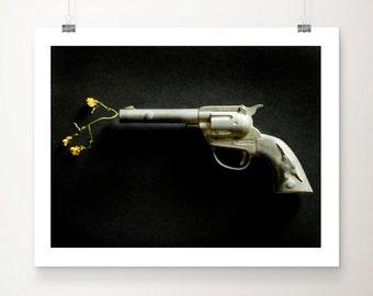 Fine Art Print Vintage Toy Gun Nickel Black Yellow Tex Texas Floral Flowers Home Decor Wholesale Still Life