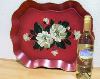 NASHCO RED TIN Serving Tray, Handpainted, Vintage before 1963