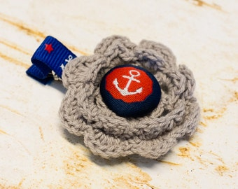 Nautical Gray Crochet Flower Hair Clip, Navy Blue Red Anchor, Little Baby Girl First Birthday Party, Toddler, Fabric Button Handmade no slip