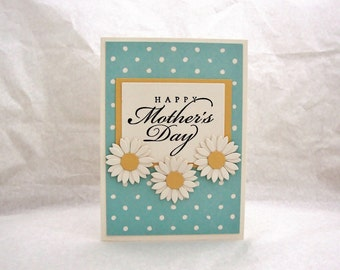Mother's Day Card, Happy Mother's Day, Polka Dot Mother's Day Card, Aqua, Happy Mother's Day, Cream Polka Dot, Cream & Aqua Card for Mom