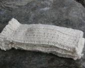 Handknitted White Fingerless Mittens