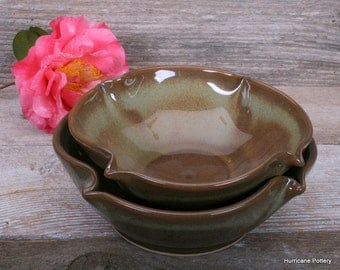 Ceramic Nesting Pair of Bowls. Pottery Bowls. Square Bowls. Altered. Hand Thrown Ceramic Pottery