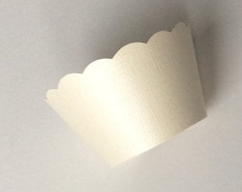 Ivory Pearlescent Cupcake Wrappers Weddings Showers Birthdays Textured Pearl Finish