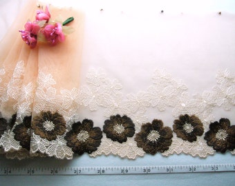 Clearance, Embroidered lace, Tulle lace, Floral lace, Peach lace, Wedding lace, Lingerie lace, 3 1/2 yards OR014