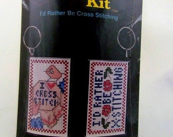 I'd Rather Be Cross Stitching Keychain Kit
